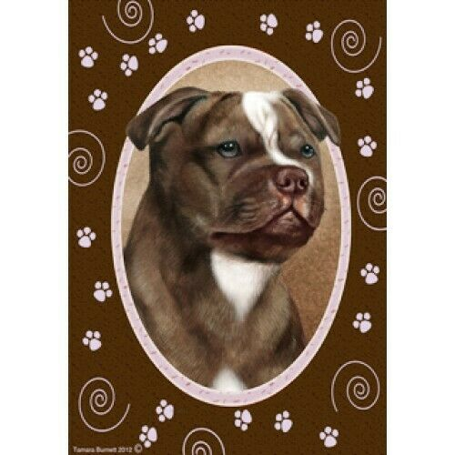 Paws House Flag - Chocolate Staffordshire Bull Terrier 17244