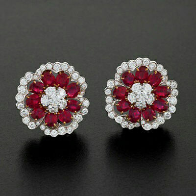 Floret Studs Red Oval Buy Online Solid Sterling Silver Jewelry For Gift Women Cz