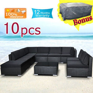 Wicker-Rattan-Garden-Set-Indoor-Outdoor-Sofa-Lounge-couch-Setting-Furniture-10PC