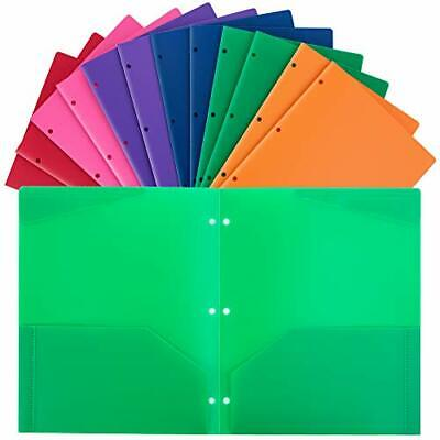 Plastic Folders With Pocket And 3 Hole 12pcs Heavy Duty 2 Pocket Plastic Fold...