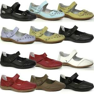 Ladies-Leather-Shoes-Womens-Smart-Mary-Jane-Comfort-Walking-Summer-Shoes-Size
