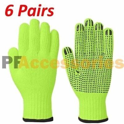 6 Pairs High Visibility Cotton Pvc Dots String Knit Safety Work Glove Size L