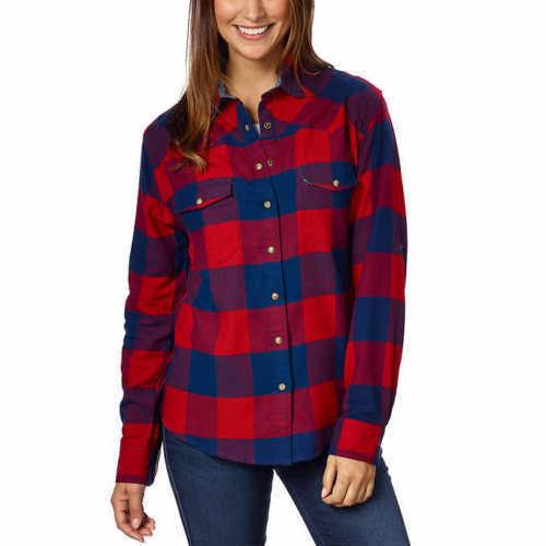 Jachs Girlfriend Ladies' Flannel Shirt ,Red/Navy, Small