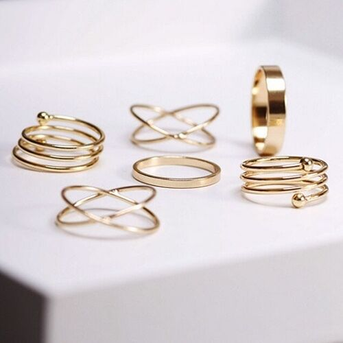6pcs/set Fashion Knuckle Ring Punk Urban Gold Plated Stack