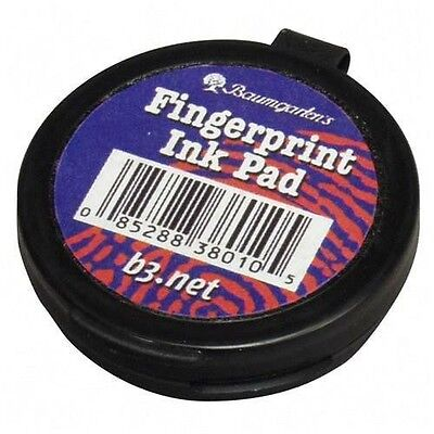New Baumgartens Fingerprint Ink Pad Black Ink 1.6 X 1.6 X 0.5