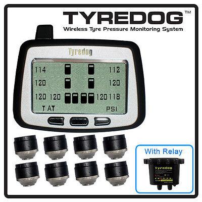 TYREDOG TPMS 8 Wheel Sensor Tire Pressure Monitor for RV, Trucks and Dullies
