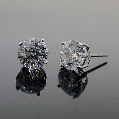 Wedding earrings bridesmaid sterling silver cubic zirconia stud earrings 10mm RD