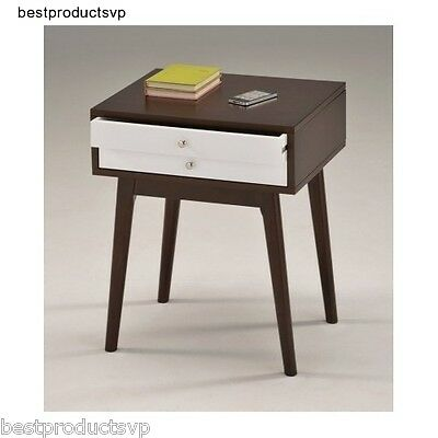 Mid Century Nightstand Modern End Bedroom Table Wood With Drawers White Espresso