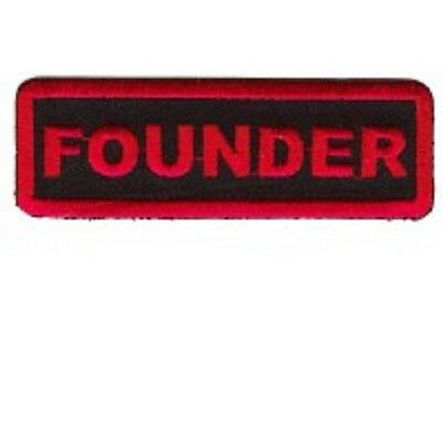 Founder  Motorcycle Club   Red On Black Embroidered Iron On  Patch