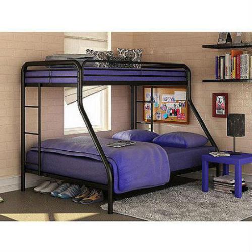 Metal Bunk Beds Frame Twin Over Full Black Ladder Kids Bedro
