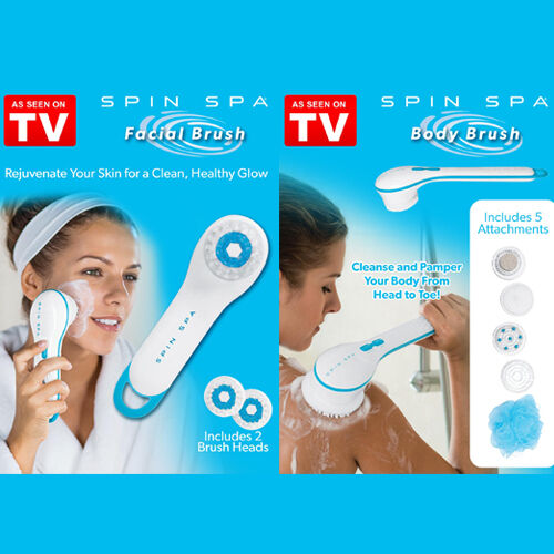 New Spin Spa Facial Body Brush Scrub Shower Exfoliator Cleansing As seen on TV