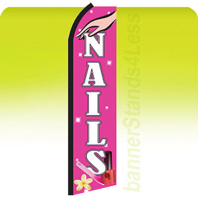 Nails Swooper Flag Feather Flutter Banner Sign 11.5 - Pz