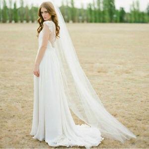 Lovely 1T Tulle Bridal Veils Chapel Length, White or Ivory - New