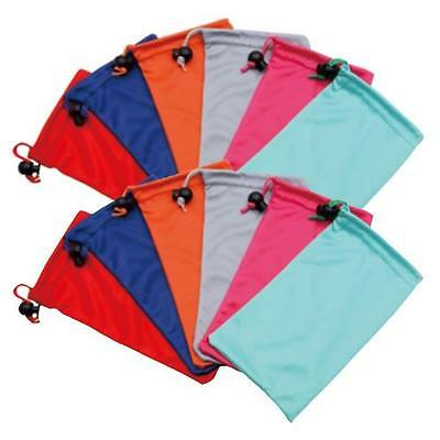 12 Drawstring Microfiber Pouches w/Bead Lock Sunglass Soft Case Assorted Colors (Microfiber Pouch Drawstring Case)