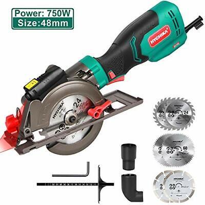 HYCHIKA Mini Circular Saw 6.2A 750W Compact Circular Saw 6 Blades Cutting Tools