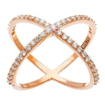 14k Gold Vermeil Wedding Ring (NEW 14K ROSE GOLD VERMEIL Pave Long Open X Ring-Bridal-Band-925  )