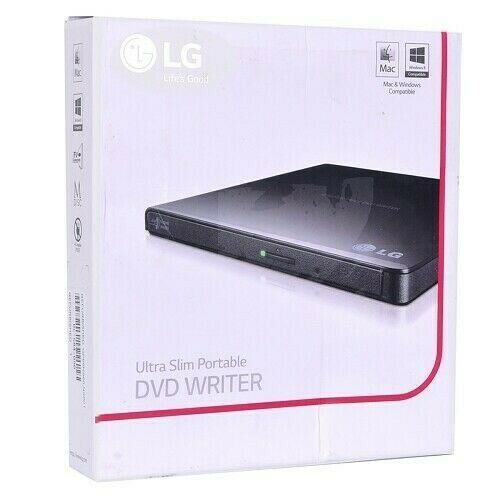 LG GP65NB60 14mm Ultra Slim Portable External DVD Writer - Black