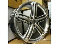 """NEW 19"""" AUDI RS6 BLACK EDITION STYLE ALLOY WHEELS X4 BOXED 5X112 A5 A6 A7 A8 TT DEEP CONCAVE"""