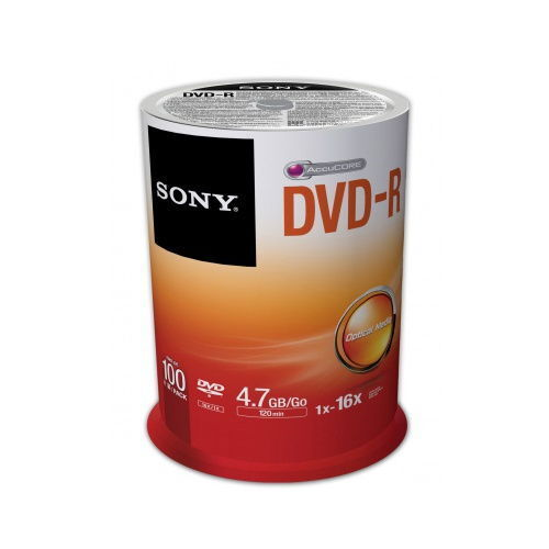 Sony 100DMR47SP 16x DVD-R 4.7GB Recordable DVD Media - 100 P