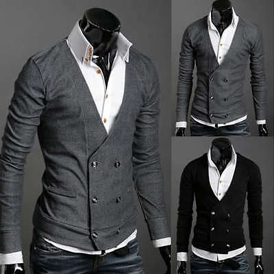 ST74 New Mens Casual Slim Fit Long Sleeve Cardigan Sweaters Shirts
