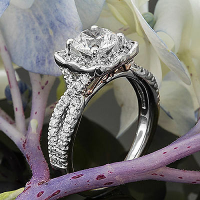 Halo Pave 1.22 Carat VS2/H Round Cut Diamond Engagement Ring 14k White Gold