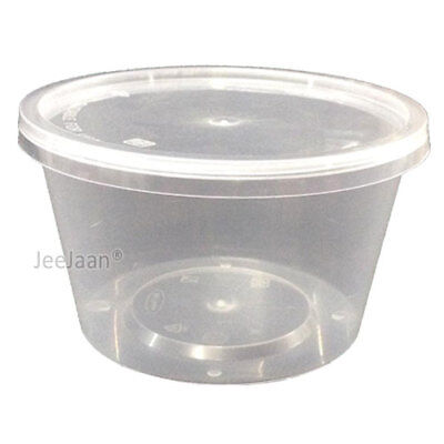 50 - 8oz CLEAR PLASTIC ROUND CONTAINERS TUBS LIDS FOOD SAFE TAKEAWAY PARTY](Plastic Party Tub)