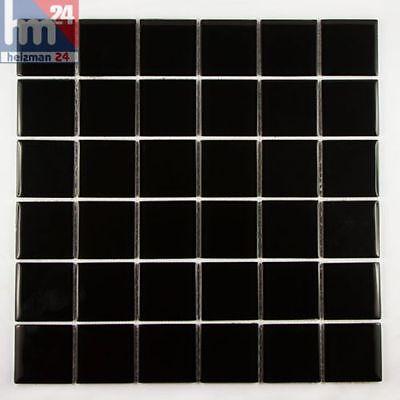 Mosaik Black Plate Glas Fliese / Matte 29,5 x 29,5 x 0,4 cm