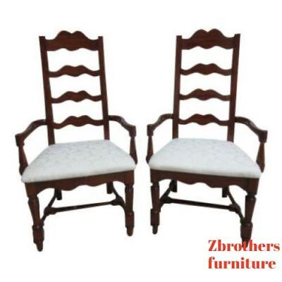 Pair Pennsylvania House Cherry Ladderback Dining Room Desk Arm Chairs Set A