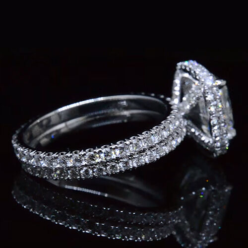 Real 3.40 Ct Halo Pave Cushion Cut Diamond Engagement Ring Set D,VS1 GIA 14K WG 1
