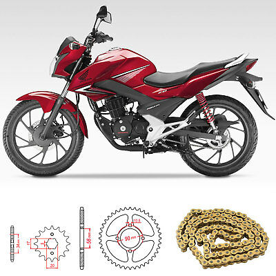 Honda CB125 F GLR125 2015-2016 Gold Heavy Duty Chain and Sprocket Kit Set CB 125
