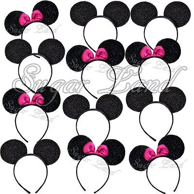 12 Mickey and Minnie Mouse Ears Headbands PINK Bows Sparkly Party Favors Lot - Minnie And Mickey Party Supplies