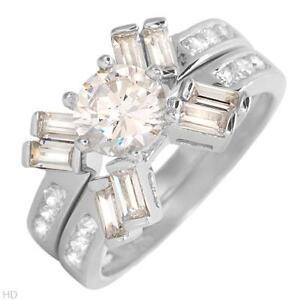 STUNNING BRAND NEW 2 RING CUBIC ZIRCONIA SILVER RING SET Barrie Ontario image 1