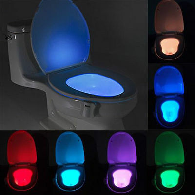 New 8 Colors LED Toilet Bathroom Night Light Human Motion Activated Sensor Lamp