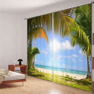 Playa-Del-Oceano-Azul-Agradable-3D-Cortinas-Bloquear-Foto-Impresion-Cubrir-Tela