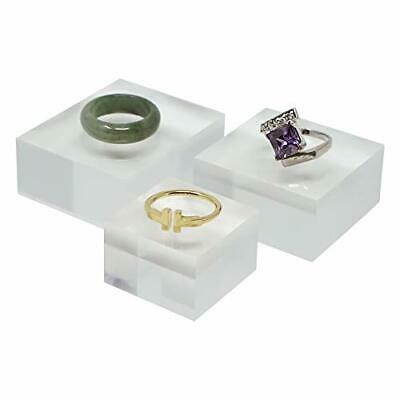 Crystal Clear Solid Acrylic Cube Jewelry Riser Display Stands - 2 1.6 1.2