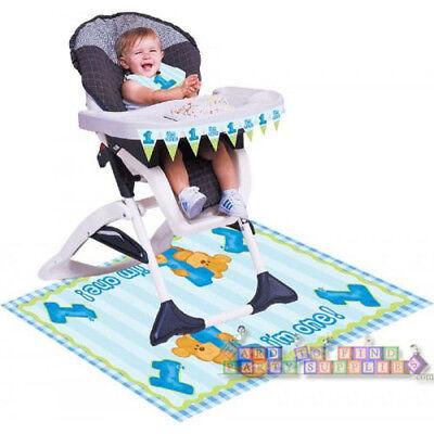 Boy High Chair Kit - BEAR'S 1st BIRTHDAY BOY HIGH CHAIR DECORATING KIT (3pc) ~ First Party Supplies