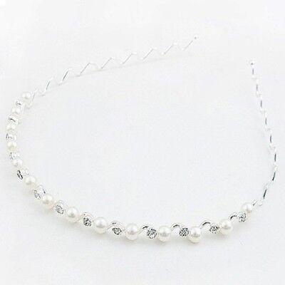 Luxus Strass Perlen Haarreif Hochzeit Braut Kommunion Haarschmuck Haarspange
