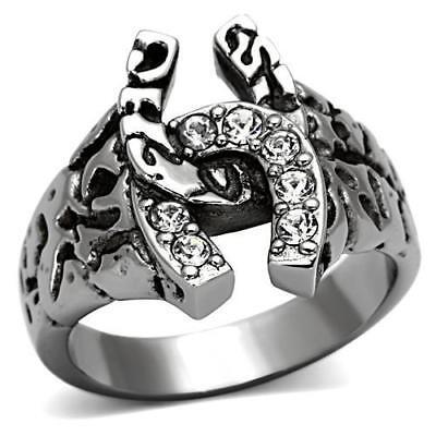 Men's Horseshoe Stainless Steel Top Grade Crystal Lucky Ring 8 - 13 TK961