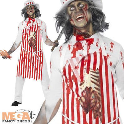 Bloody Butcher Zombie Halloween Mens Fancy Dress Adult Uniform Costume Outfit