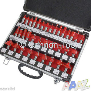 ... inch Router Bits in Aluminium Case Bit Woodworking Tool Set Tct