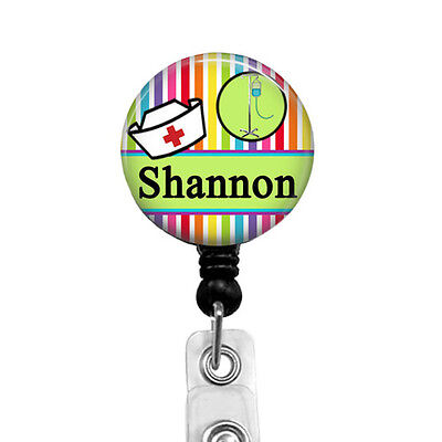 Personalized Nursing Badge Reel with Nurse Hat, Colorful Name Holders  -