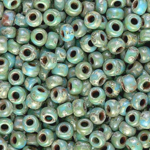 8/0 Japanese seed beads Picasso Turquoise Miyuki Round Seed Beads-15 grams