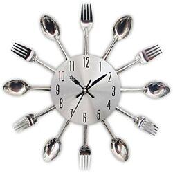 Kitchen Wall Clock Modern Creative Kitchen Spoon Fork Home Decoration - Sliver