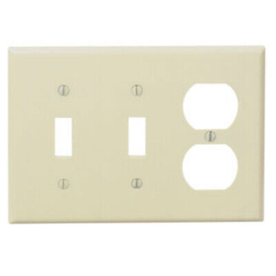 Leviton IVORY Triple Gang Toggle Switch and Receptacle Wall Plate 86021 NEW WOW!