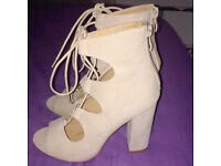 Missguided Nude Lace Up Block Heels Size 4