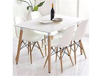 Charles Ray Eames Eiffel Inspired White Chairs x3