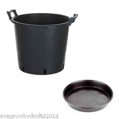 10 x 30L Round Black Plastic Plant Pot with Handles and Saucer Tray