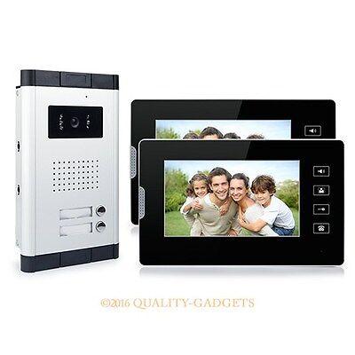 "2 Familien Video Türsprechanlage 7"" LCD Monitor IR-Kamera Freisprech Touch Taste"