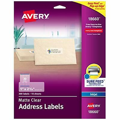 Avery Matte Frosted Clear Address Labels for Inkjet Printers 1