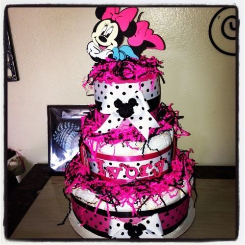 minnie mouse diaper cake baby shower or birthday 1 of 12